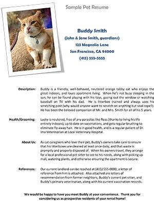 Sample Pet Resume