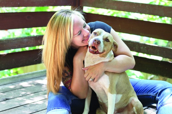 Ever since she was forced to move because of her dog's looks, Katie Barnett (shown here with Katrina) has been working to end breed-specific legislation.
