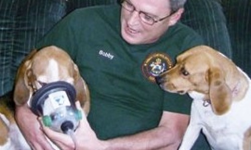 Bobby Silcott and his dog Elvis, a basset hound with a little beagle in him, demonstrate one of the pet oxygen masks that Silcott is supplying to fire and rescue departments throughout Maine. Looking on is Silcott's lemon-drop beagle, Priscilla.