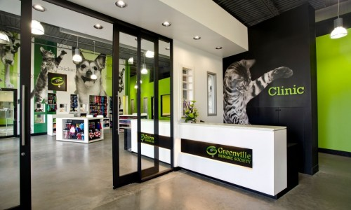 The lobby of the Greenville Humane Society is designed to be a retail destination for animal-lovers.