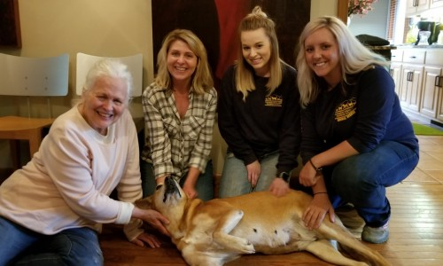 Eileen Anderson, Heidi Leland, CHHS assistant manager Jodi Henkel, CHHS shelter manager Kaitlyn Moss and Caramel.